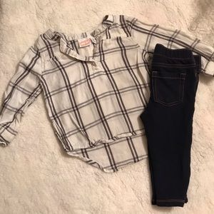 White plaid blouse with Jean leggings.